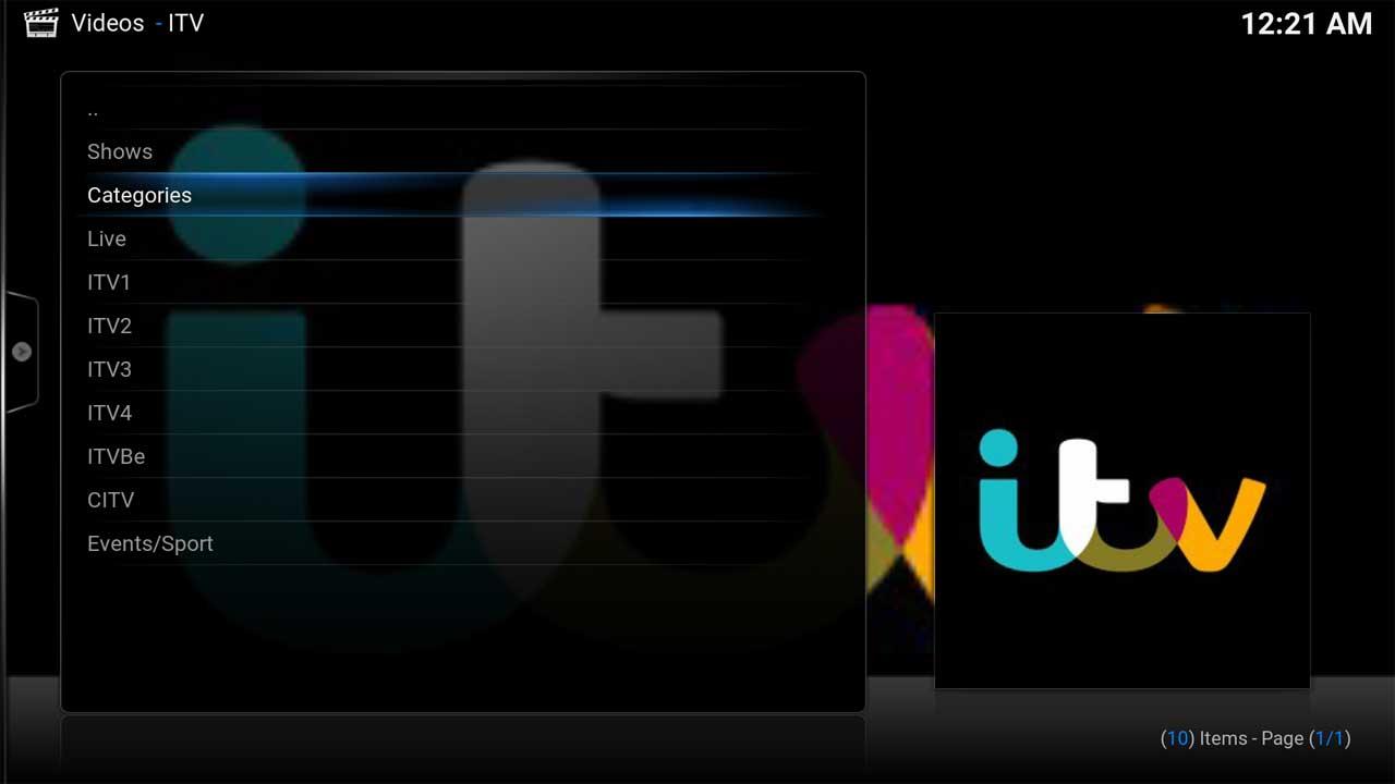ITV Categories Main Menu