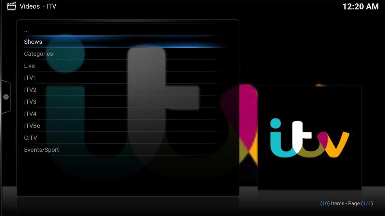 ITV Shows Main Menu