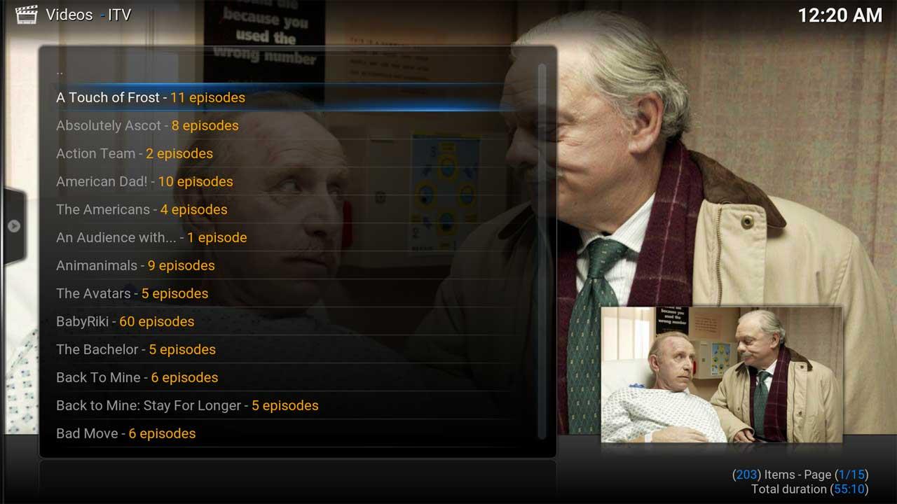 ITV Shows Menu