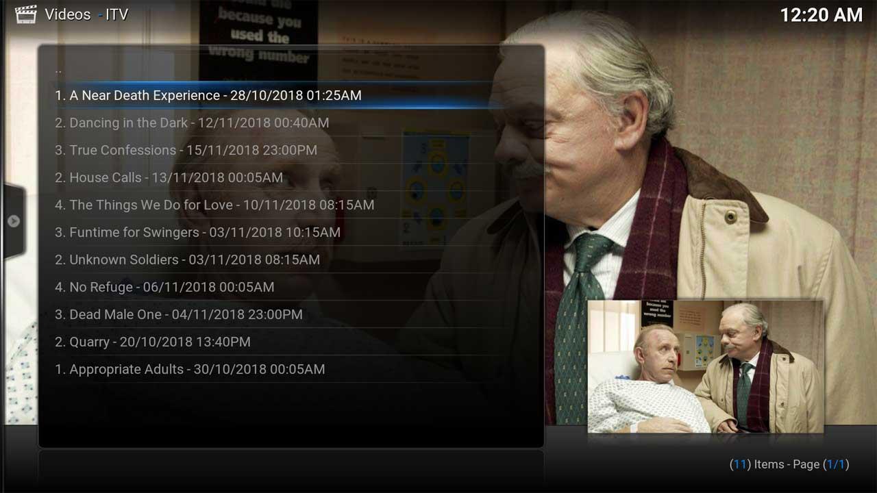 ITV Shows Programme Menu