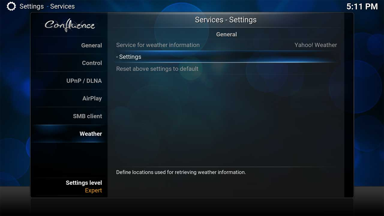 Services Settings Weather