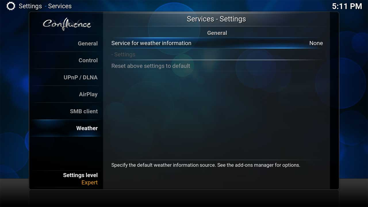 Services Settings