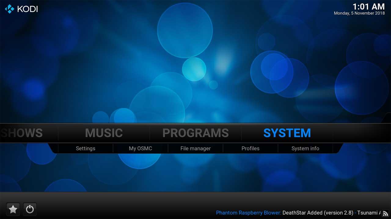 System Main Menu